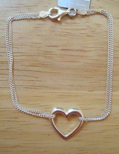 Giani Bernini~Sterling Silver 925~Heart Charm~Double Strand Chain Bracelet~$120 #GianiBernini #Chain