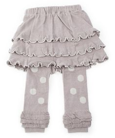 Take a look at this Gray Polka Dot Skirted Leggings - Girls by SKEANIE on #zulily today!