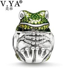 Frog Charms Beads fit Pandora Necklace Bracelet for Women Female Cute Frog with Rhinestone DZ2036