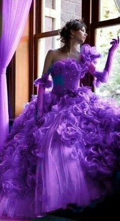 Purple wedding gown- Purple is my favorite color, but this is way too much fluff! Purple Love, Mode Purple, Purple Lilac, All Things Purple, Shades Of Purple, Deep Purple, Purple Stuff, 50 Shades, Purple Wedding Gown