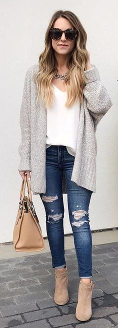Grey Cardigan / White Blouse / Ripped Skinny Jeans / Beige Boots