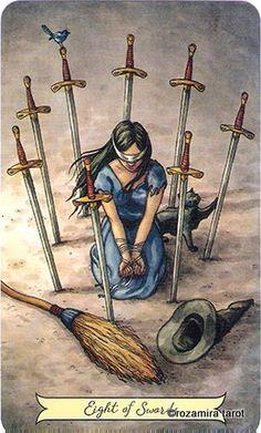 Original Painting - Eight of Swords - Everyday Witch Tarot Wicca, Tarot Significado, Tarot Astrology, Online Tarot, Tarot Learning, Tarot Card Meanings, Witch Art, Tarot Readers, Oracle Cards
