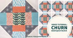 Video tutorial: quick and easy churn dash quilt block-Theresa Down Under