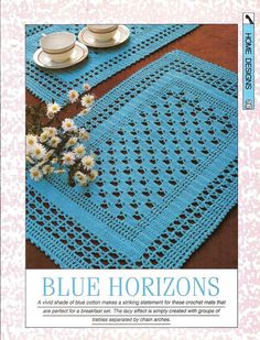 Crochet pattern Blue Horizons place mat by MyPatternsCollection Crochet Mat, Crochet Table Runner, Crochet Cushions, Crochet Tablecloth, Crochet Home, Thread Crochet, Filet Crochet, Crochet Crafts, Crochet Doilies