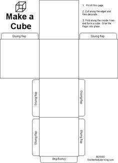 pattern for cube idea- make cubes but have students color each side a different color,. Then, set it out a still life, and draw from their perspective.