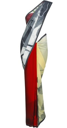 Grey, red and sand screenprint sari by SATYAPAUL. Shop at https://www.perniaspopupshop.com/whats-new/satyapaul-3