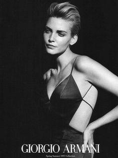 Campaign: Giorgio Armani Season: Spring 1997 Photographer: Peter Lindbergh Model(s): Nadja Auermann