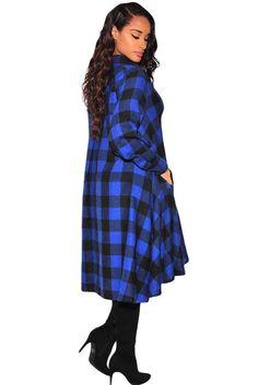 Robe Blouse Femme Tartan Noir Bleu Asymetrique Ample Pas Cher www.modebuy.com @Modebuy #Modebuy #Noir #Bleu #Bleu #femme