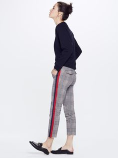 Mother Denim The Shaker Prep Fray - Happy People Read And Drink Coffee Pink/Navy Mother Denim, Preppy Look, Racing Stripes, Tailored Trousers, Happy People, Fall Trends, Minimalist Fashion, Harem Pants, Plaid