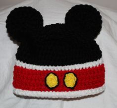 Mickey Mouse hat I HAVE MADE ONES SORTA LIKE THIS FOR BABIES & KIDS AND WAS SURPRISED AT THE ADULTS WANTING THEM.