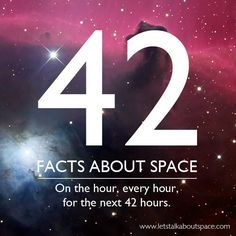 Space Facts We love space trivia, and so do a lot of geeks online. In honor of Douglas Adams, Lets Talk About Space created forty-two infographics li. Astronomy Facts, Space And Astronomy, Astronomy Quotes, Carl Sagan, Science Facts, Fun Facts, Life Science, Science Trivia, Science Quotes