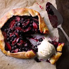 Blueberry & Plum Galette. A perfect pie-like dessert for summer nights!