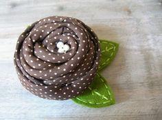 upcycled necktie-polka dot brown flower