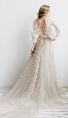 Flowy Illusion Tulle Pleated Dress With Floral Appliques And Deep-V Ba – Dorri. Flowy Illusion Tulle Pleated Dress With Floral Appliques And Deep-V Ba – Dorri. Tulle Wedding, Boho Wedding, Wedding Gowns, Rustic Wedding, Gothic Wedding, Ethereal Wedding Dress, Wedding Veil, Party Gowns, Pearl Wedding Dresses
