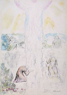 William Blake, Dante in the Empyrean, Drinking at the River of Light 1824-7