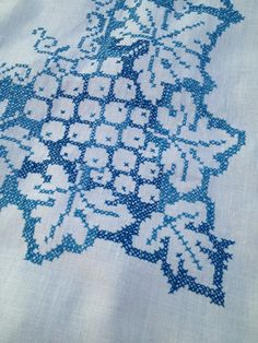 Vintage White and Blue Pure Linen by TheLittleThingsVin on Etsy