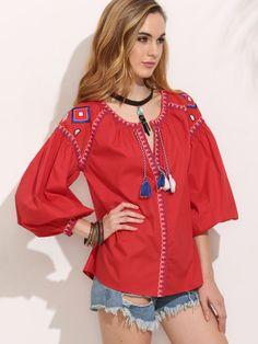 Blusa manga larga bordado fleocs - rojo
