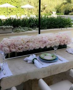 Kris Jenner House, Stone Table Top, Outdoor Stone, House On A Hill, Patio Table, Event Planning, Landscape Design, Floral Arrangements, Sweet Home