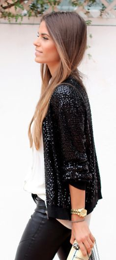 Sequin jacket & leather pants.