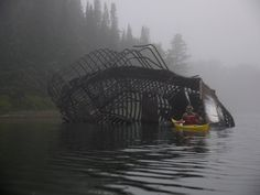 Kayaking into the skeletal frame of the Billy Blake on Lake Superior