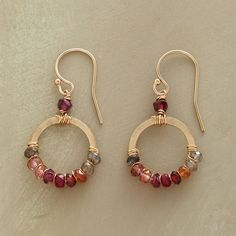 BLUSH SPECTRUM EARRINGS -- Sparkling gold-filled hoops of corundum, hessonite and rhodalite garnets, pink and smoky quartz on gold-filled earwires. Wire Jewelry, Beaded Jewelry, Jewelery, Bullet Jewelry, Geek Jewelry, Gothic Jewelry, Jewelry Necklaces, Bead Earrings, Gemstone Earrings