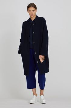 Oyuna Batu Cashmere and Wool Boucle Knit Coat - Navy Blue on Garmentory Knitted Coat, Knitted Throws, Cashmere Throw, Cotton Bag, Navy Blue, Wool, Mongolia, Knitting, Sleeves