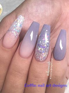 Feb 2020 - Cute Lavender Grey, Ombre and Glitter on long Coffin Nails Set! Cute Lavender Grey, Ombre and Glitter on long Coffin Nails Set! Coffin Nails Ombre, Glitter Nails, My Nails, Ombre Nail, Stiletto Nails, Classy Nails, Stylish Nails, Gorgeous Nails, Pretty Nails