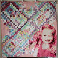 Portrait quilt by Rachael Dorr.  Made from child's pajamas.