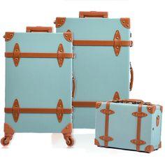 Fashion Women Travel Suitcase PU Leather Vintage Luggage Set Universal Wheels Trolley Bag 22