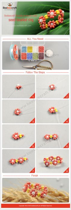 Quilting seed bead rings seed bead loom patterns seed bead flowers how Handmade Wire Jewelry, Diy Crafts Jewelry, Bracelet Crafts, Seed Bead Crafts, Seed Bead Projects, Seed Bead Jewelry Tutorials, Beading Tutorials, Beaded Bracelet Patterns, Beading Patterns