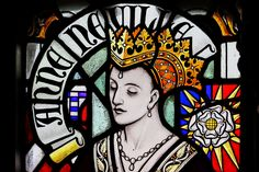 """Today, 16 March, in 1485, the death of Queen Anne Neville at Westminster Palace at the age of 28. Anne was consort to Richard III from 26 June 1483 until her death. Anne was the younger daughter of Sir Richard Neville, 16th Earl of Warwick, known to history as """"the Kingmaker"""", and Lady Anne Beauchamp, suo jure 16th Countess of Warwick. She had a sister, Isabel, who married George, Duke of Clarence; brother of Richard. Photo: Anne from Cardiff Castle's joint stained glass window of Richard…"""