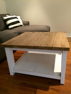 Ikea hack - Rekarne coffee table in pine. Painted and stained. #rustic