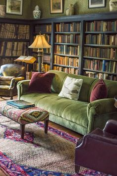 Love the velvet couch, dark grey shelves full of books, rug and lamp. I want to be in this room!