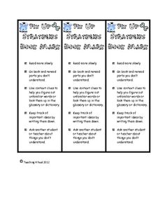 Help your students monitor their comprehension with this Fix Up Strategies bookmark.  This can be used in guided reading groups, in a reading journ...