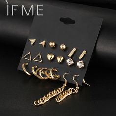 Stud Earrings 9 Pcs/Set Crystal Heart Gold Color Stud Earrings Tessal Triangle Vintage Silver Color Earring Set For Women Jewelry Oorbellen -- AliExpress Affiliate's Pin. Details on product can be viewed by clicking the VISIT button Bridal Jewelry, Gold Jewelry, Women Jewelry, Jewelry Rings, Princess Cut Diamond Earrings, Designer Earrings, Silver Color, Women's Earrings, Necklaces