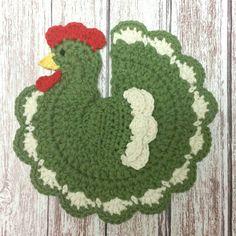 Crochet Chicken Pot Holder - Rooster Hot Pad - Farmhouse Kitchen Decor - Sage Green by littledarlynns on Etsy Potholder Patterns, Crochet Potholders, Crochet Doilies, Crochet Patterns, Apron Patterns, Dress Patterns, Chicken Quilt, Crochet Hot Pads, Chicken Pattern