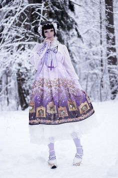 me snow winter cute cold fashion dress lace kawaii white style purple forest girly pastel soft look Eve lolita heaven cure pale alice and th...