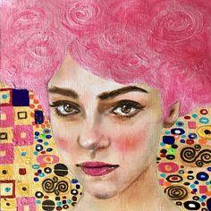 Original People Painting by Haelyn Y Paintings I Love, Original Paintings, Original Art, Acrylic Painting Canvas, Canvas Art, Canvas Size, Female Portrait, Woman Portrait, Klimt