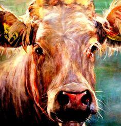 Koe geschilderd op premium canvas met houten frame.