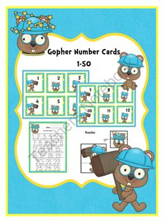 Gopher Number Cards from Preschool Printables on TeachersNotebook.com -  (15 pages)  - Number cards 1-50