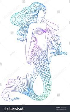 Beautiful mermaid outline vector hand drawn illustration