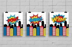 Superhero Art  Superhero Pop Art Kids Wall by SimplyLoveCreations