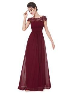 Ever Pretty Damen Rueckseite Offen Kurzarme Chiffon Lange Abendkleider 09993: Amazon.de: Bekleidung