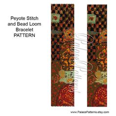 Another Klimt inspired bracelet pattern, instant download. This bracelet pattern is for single peyote stitch or bead loom weaving, using a Delica