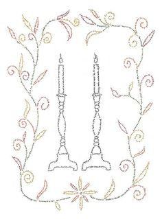 Songs of Shabbat - would make a great challah cover Jewish Crafts, Jewish Art, Embroidery Patterns, Hand Embroidery, Cross Stitch Patterns, Hannukah, Mosaic Designs, Colouring Pages, Songs