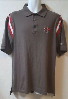 Details about NFL Tampa Bay Buccaneers Brown Polo Shirt Size Medium Play  Dry Short Sleeve bfdd3c786