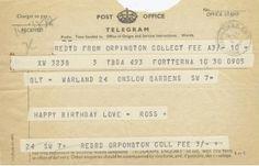 Telegram of birthday wishes.