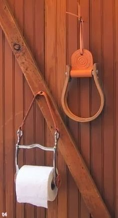 Horse horsey barn lodge home decor idea, metal bit pieces and more for bathroom toilet paper holder! I Have to have this, think I need to go steal a bit out of the tack room!) Oly doesn't like a bit anyhow!