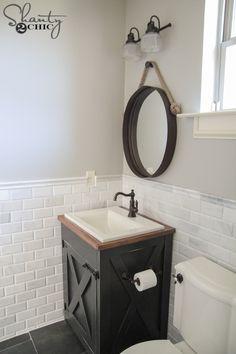 90 Brilliant Farmhouse Bathroom Vanity Remodel Ideas - carlotta news Cheap Bathroom Vanities, Bathroom Vanity Makeover, Small Bathroom Vanities, Bathroom Ideas, Half Bathrooms, Farmhouse Bathrooms, Dream Bathrooms, Bath Ideas, Decoration