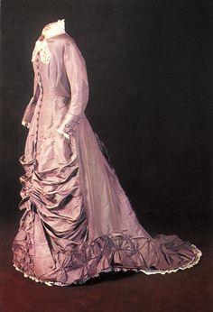 Wedding dress, probably British, silk, 1879.